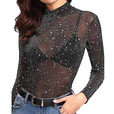 Camisa feminina de malha transparente com estampa de estrela da Romacci, manga comprida, gola redonda, preta, Preto, M