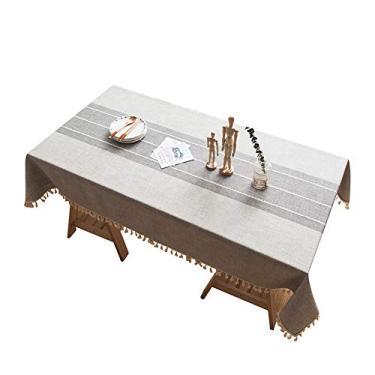 Imagem de MuYiYi11 Toalha de mesa xadrez com borla de costura, capa de mesa para cozinha, sala de jantar, retangular/oblongo, 140 cm x 200 cm, 4-6 assentos nº 3
