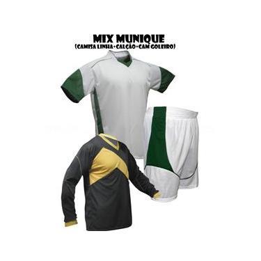 Uniforme Esportivo Munique 1 Camisa de Goleiro Omega + 10 Camisas Munique +10 Calções - Branco x Verde