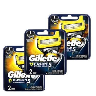 Kits com 6 Cargas Gillette Aparelho de Barbear Fusion Proshield