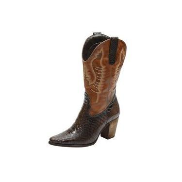 Bota Texana feminina bico fino cano e salto alto couro estampa cobra marrom e liso caramelo Pierrô