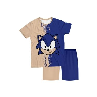 Pijama Infantil Sonic Bege e Azul PJMC