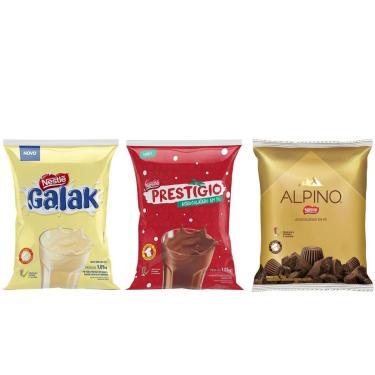 Combo Com Achocolatado Em Pó Galak + Prestigio + Alpino Nestle 1,01Kg