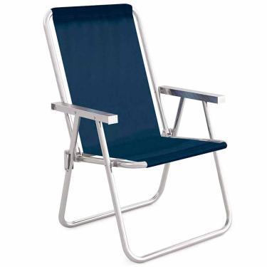 Cadeira de Praia Alumínio Alta Conforto Mor Sannet Azul 1026092