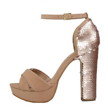 Sandália Meia Pata Salto Grosso Week Shoes Nobuck e Paetê Nude  feminino