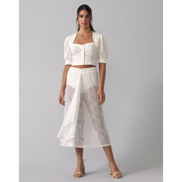 saia midi renda com hot pants Feminino AMARO OFF-WHITE PP