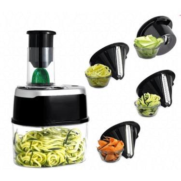 Imagem de Fatiador Espiral Automatico 4 Em 1 Cortador Ralador Spiralizer Para Macarrao De Legumes E Vegetais Eletrico Bivolt