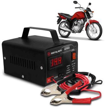 Carregador Bateria Automotivo Para Moto Shutt Bivolt 12V 5A 60W Com Voltímetro Digital
