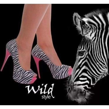 Sandália Meia Pata Zebra Preto Branco Rosa Salto Alto Fino
