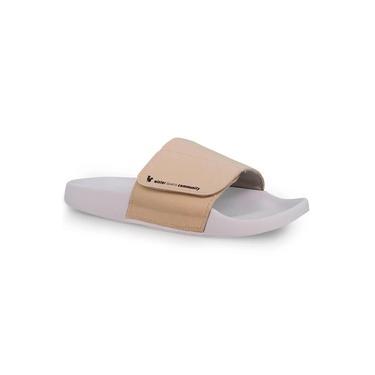 Chinelo Feminino Slide Adapt Leather Off White Ref.: 22400C