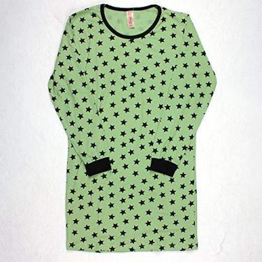 Camisola Manga Longa Feminino 100% Algodão Gola U Brezzi Estampa Estrela Cor Verde TamanhoAdulto:G