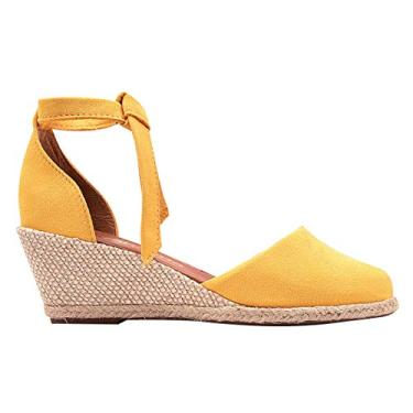 Sandália Feminina Salto Anabela Amarelo Eleganteria Tamanho:36;Cor:Amarelo