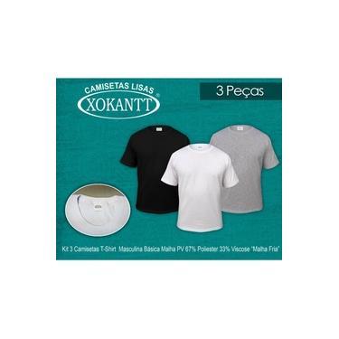 "kit 3 camisetas t-shirt masculina básica malha PV 67%Poli.33%Visc. ""Malha Fria"" -Xokantt-Gola red. X-0071-PV Mista"