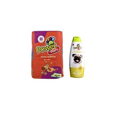 Kit Tapete Higiênico PowerPads 30unid + Shampoo PowerPets 500ml (Bull Dog e Pug)