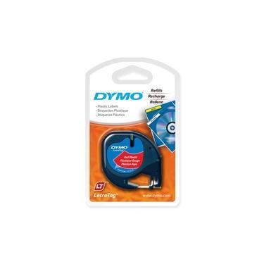 Fita Poliéster Rotulador Dymo Letratag 12 MM X 4 M Preto/Vermelho Ref.: 91333