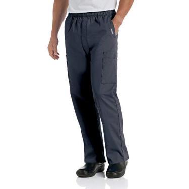 Landau Calça cargo unissex confortável com 7 bolsos e cintura elástica, 8555, Grafite, 3XL