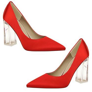 Imagem de Holibanna Sandália feminina de salto grosso transparente bico fino sapato clássico salto alto escritório festa social, Vermelho, 6