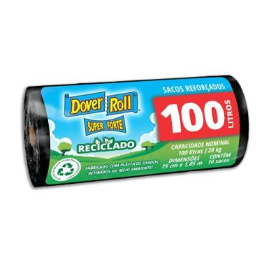 Saco para lixo Dover-Roll Super Forte Reciclado, 100 litros, preto, rolo com 10 sacos