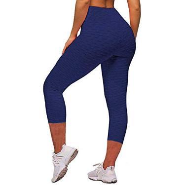 Memoryee Calça legging feminina de cintura alta para ioga, Capris Navy, XL