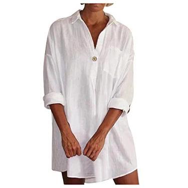 Imagem de SLENDIPLUS Vestido feminino na altura do joelho, manga comprida, botão e gola V, vestido com lapela, algodão, linho, casual, vestido, C: branco, XXG