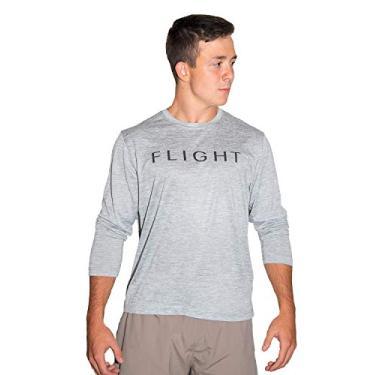 Imagem de Camiseta masculina Flight Apparel manga longa performance 100% poliéster ajuste seco, Cinza, Large