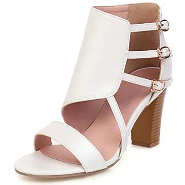 SaraIris sandália feminina Peep Toe salto alto grosso, bico aberto, fivela, salto bloco, sandálias de verão, Branco, 9