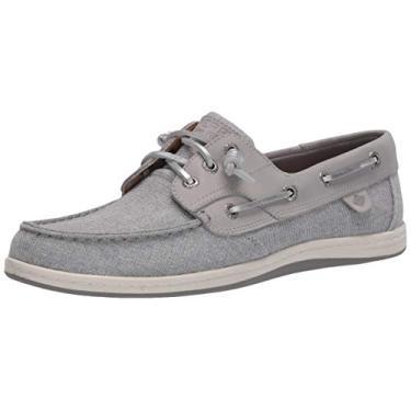 Sperry Songfish Sapato náutico feminino listrado brilhante, Cinza, 6.5