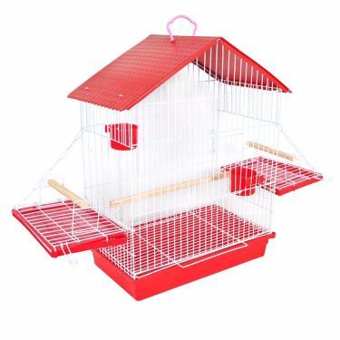 Gaiola Calopsita Papagaio Periquito Teto Platico - Vermelha