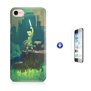 "Kit Capa Case TPU iPhone 8-4,7"" Zelda Link Ocarina of Time Breath of The Wild + Pel Vidro (BD01)"
