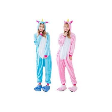 Kit 2 Pijamas Unicórnio Azul e Rosa Kigurumi Unissex