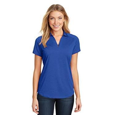 Camisa polo feminina Port Authority Digi Heather Performance L574 azul-real pequena