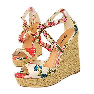 SaraIris sandália anabela estampada para mulheres, bico aberto, plataforma de cetim, alpargatas, gladiador, tira no tornozelo, sapatos com corrente de metal, Branco, 9