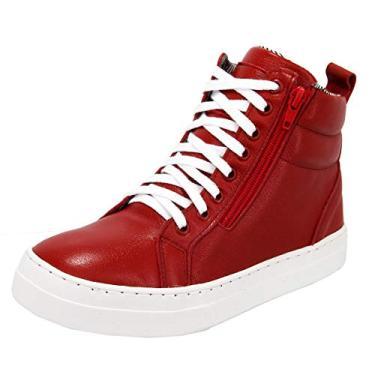 Bota Sneaker Feminina Couro Treino Cano Médio Selten Vermelho 38, Vermelho