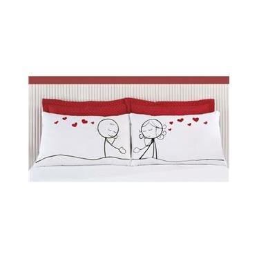Imagem de Fronhas Divertidas Amor Padrão Emoções Carinho Apaixonado Estampado com 2 peças