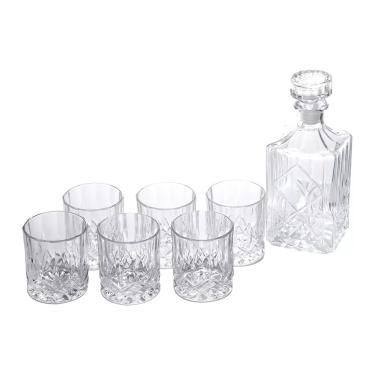 Jogo de garrafa com copos para whisky em vidro Bon Gourmet Roy 7 peças