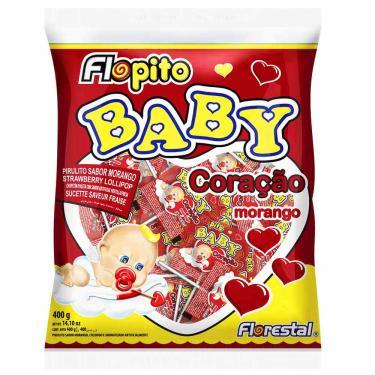 Pirulito Flopito Baby Coração Morango 200g Florestal 1008310