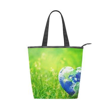 Bolsa feminina de lona durável verde grama terra coração grande capacidade sacola de compras bolsa de ombro