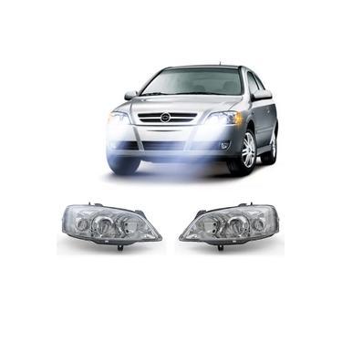 Farol Chevrolet Astra Hatch 2003 A 2011 Arteb Principal Máscara Cromada Foco Duplo Encaixe H1 H7 Com Pisca