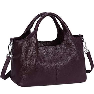 Iswee – Bolsa feminina de couro, bolsa de ombro, bolsa de mão, bolsa de mão, bolsa de mão, bolsa Hobo transversal, Violeta, Medium