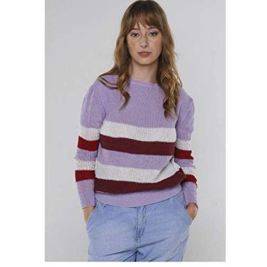 Suéter de Tricot Listrado Levemente Bufante Under79 Lilás com Vermelho (M)