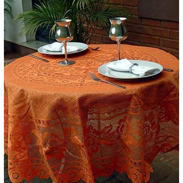 Imagem de Toalha de Mesa - Redonda 4 Lugares - 160 Diam - Fibra de Coco Cor:Laranja