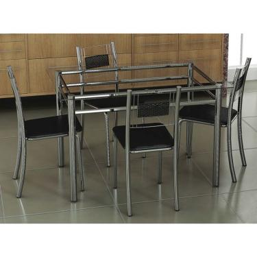 Imagem de Conjunto de Mesa com 4 Cadeiras Thays Prata e preto
