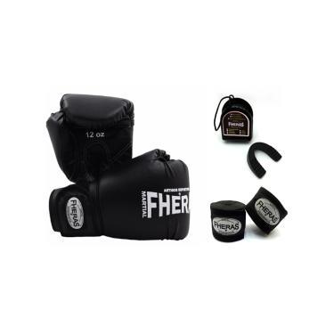 Kit Boxe Muay Thai Fheras Luva Bandagem Bucal 14oz Preta
