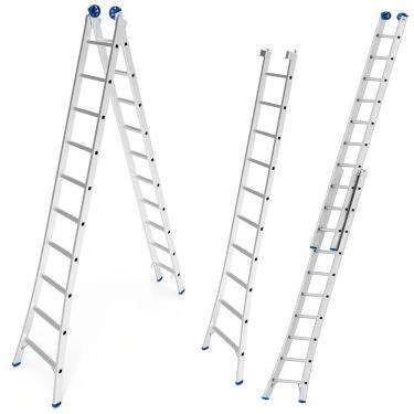 Escada De Alumínio Extensiva 2 X 10 Degraus 3,09 X 5,05 Metros Mor