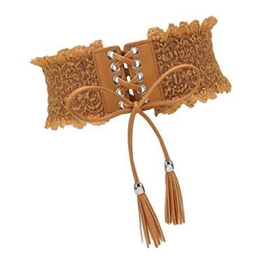 oshhni Cinto Feminino Retrô com Espartilho Cinturão Cintura - Bronzeado leve