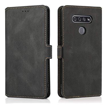 Capa Grandcase para LG K51, capa de proteção ultrafina de couro vintage com suporte dobrável magnético para LG K51 de 6,5 polegadas – preta