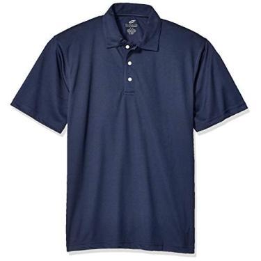Imagem de Camisa polo masculina UltraClubs ULTC-8320-Platinum Performance Jacquard com TC Tech, azul-marinho, GG, Azul marino, X
