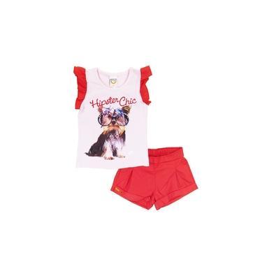 Conjunto Infantil Menina Verão Rosa e Vermelho Com Shorts em Tecido e Blusa lisa com Silk Hipster Chic - Boca Grande