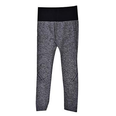 Legging feminina para academia, calça 3/4 de comprimento elástica, legging elástica esportiva fitness para aeróbica, ioga, corrida cinza (adequada para 45-60 kg)
