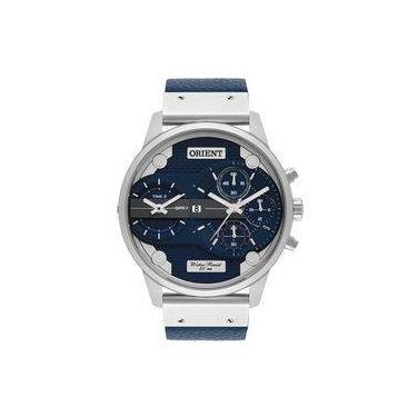 d86055236e3 Relogio Orient Masculino Mbsct002 D1dx Azul Couro Cronografo